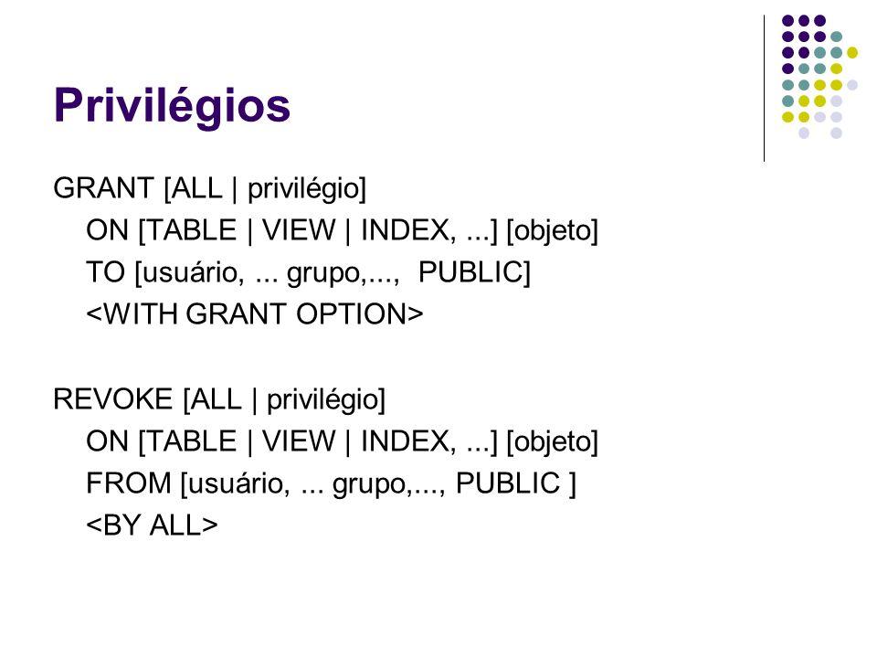 Privilégios GRANT [ALL | privilégio]